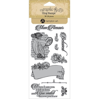 Graphic 45 MON AMOUR 1 Cling Stamps IC0344*