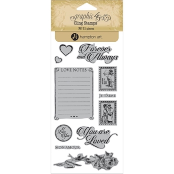 Graphic 45 MON AMOUR 2 Cling Stamps IC0345*