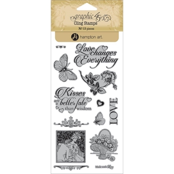 Graphic 45 MON AMOUR 3 Cling Stamps IC0346*