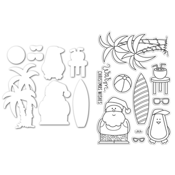 Simon Says Stamps and Dies Set SANTA AT THE BEACH SetSB222 STAMPtember