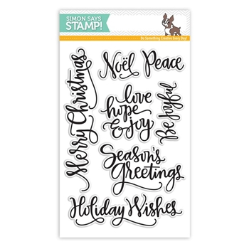 Simon Says Clear Stamps BIG SCRIPTY GREETINGS HOLIDAY sss101548