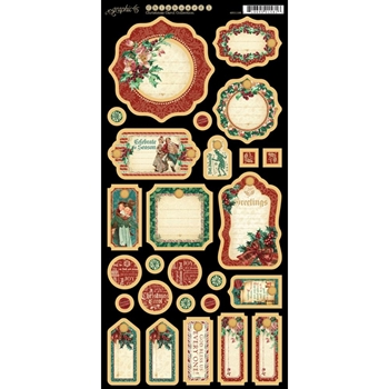 Graphic 45 A CHRISTMAS CAROL 1 Chipboard Tags 4501198
