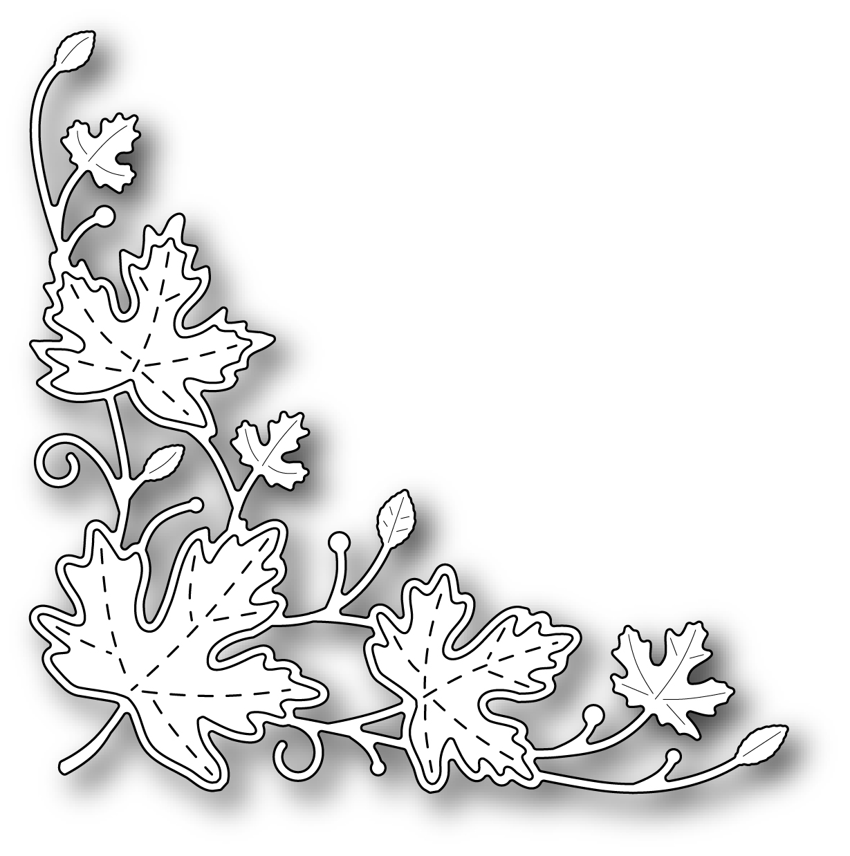 Simon Says Stamp MAPLE LEAF CORNER Wafer Die s315