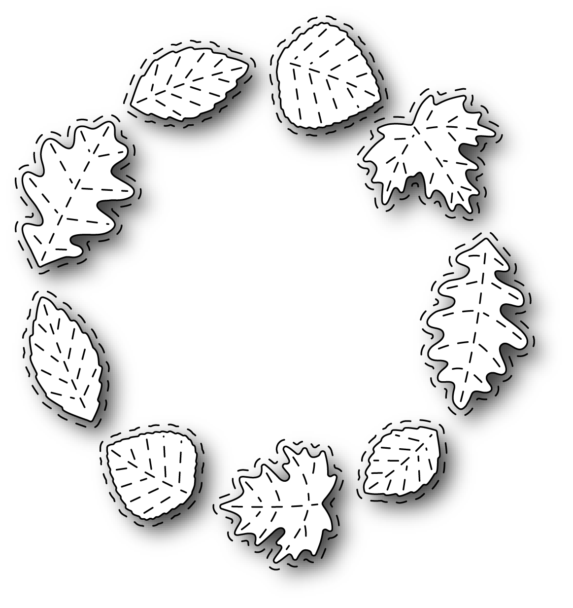 Simon Says Stamp STITCHED LEAF WREATH Wafer Dies s302