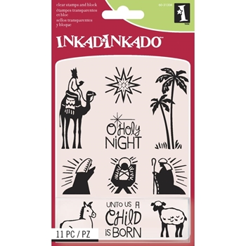 Inkadinkado Inchies NATIVITY Clear Stamp and Block Set 60-31304