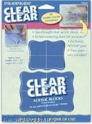 Inkadinkado Clear Acrylic Block SMALL & MEDIUM 2 Blocks for Rubber Stamp 93625 zoom image