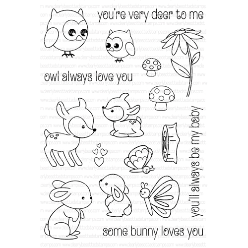 Clearly Besotted WOODLAND KISSES Clear Stamp Set  Preview Image