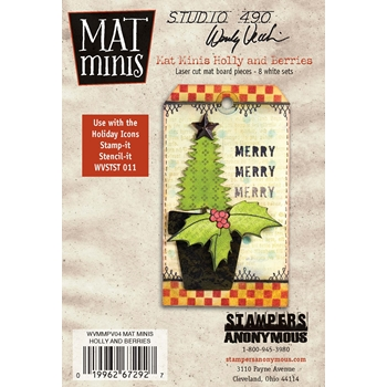 Wendy Vecchi Mat Minis HOLLY AND BERRIES Studio 490 WVMMPV04