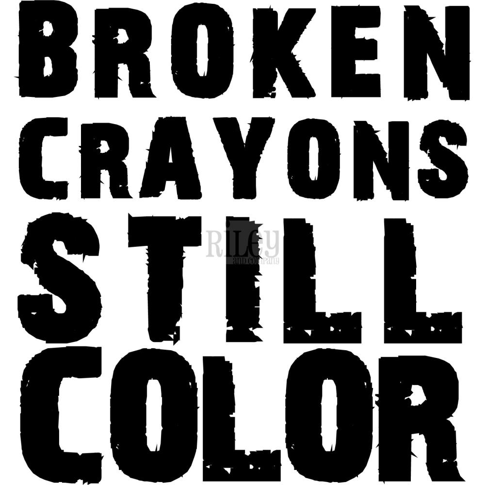 Riley And Company Funny Bones BROKEN CRAYONS Cling Rubber Stamp INS-126 zoom image