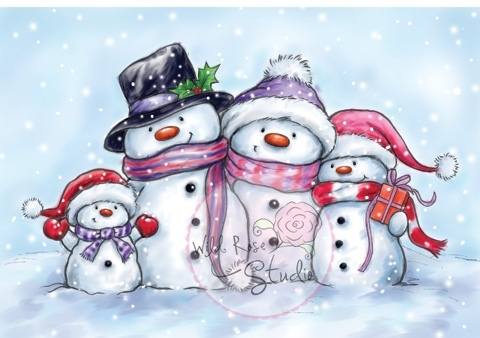 Wild Rose Studio SNOWMEN Clear Stamp Set CL461 zoom image