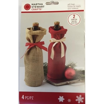 Martha Stewart HOLIDAY LODGE BURLAP WINE BAGS 48-30421