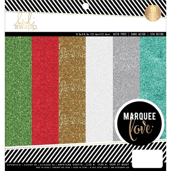 Heidi Swapp MARQUEE CHRISTMAS 8.5 x 8.5 Glitter Paper Pad 312196