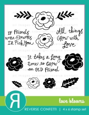 Reverse Confetti LOVE BLOOMS Clear Stamp Set  Preview Image