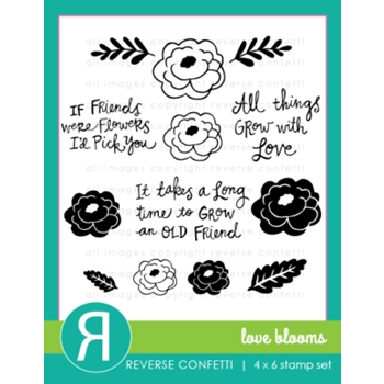 Reverse Confetti LOVE BLOOMS Clear Stamp Set