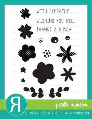 Reverse Confetti PETALS N POSIES Clear Stamp Set