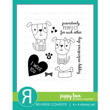 Reverse Confetti PUPPY LOVE Clear Stamp Set
