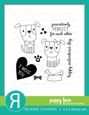 Reverse Confetti PUPPY LOVE Clear Stamp Set  zoom image