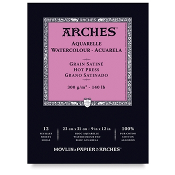 Arches HOT PRESSED WATERCOLOR PAD 9x12 inches 012890