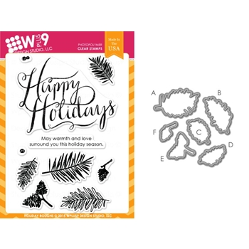Wplus9 HOLIDAY BOUGHS SET Clear Stamp And Die Combo WPLUS273