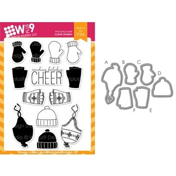 Wplus9 HOLIDAY CHEER SET Clear Stamp And Die Combo WPLUS276