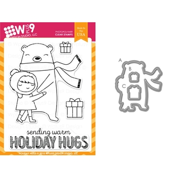 Wplus9 HOLIDAY HUGS SET Clear Stamp And Die Combo WPLUS279