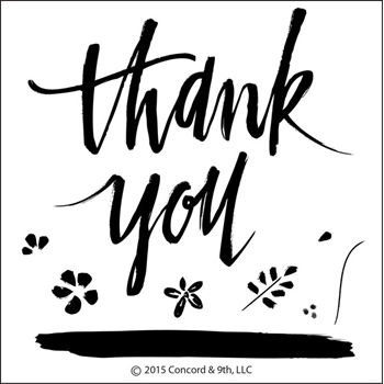 Concord & 9th PAINTED THANK YOU Clear Stamp Set 10003C9*