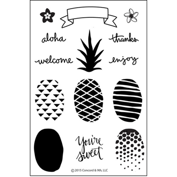 Concord & 9th POP ART PINEAPPLE Clear Stamp Set 10001C9