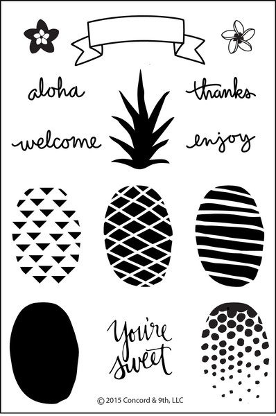 Concord & 9th POP ART PINEAPPLE Clear Stamp Set 10001C9 zoom image
