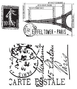 Tim Holtz Cling Rubber Stamps I SEE PARIS Stampers Anonymous CMS009
