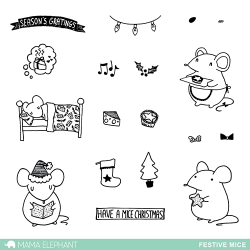 Mama Elephant Clear Stamp FESTIVE MICE   zoom image
