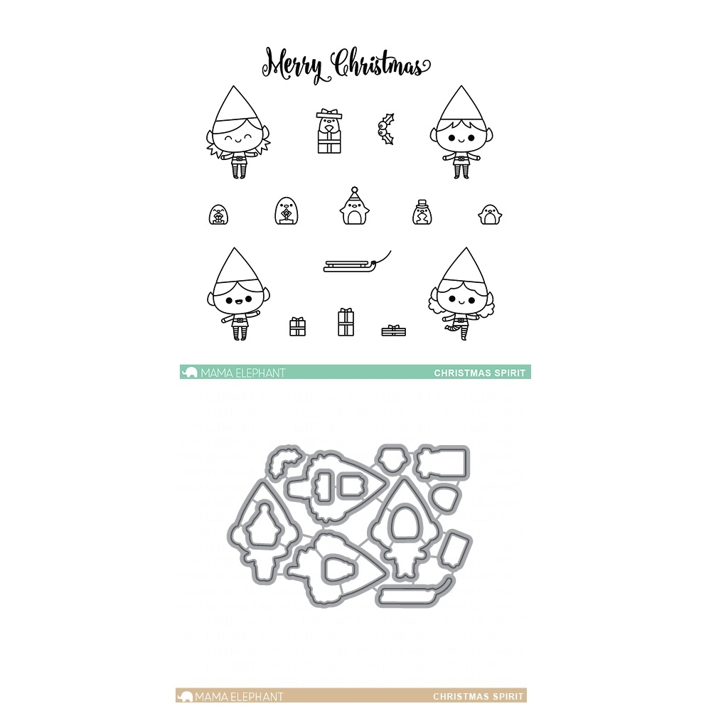 Mama Elephant Clear Stamp and Die MEPT176 Christmas Spirit SET * zoom image