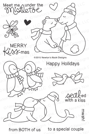Newton's Nook Designs HOLIDAY SMOOCHES Clear Stamp Set 20151002 zoom image