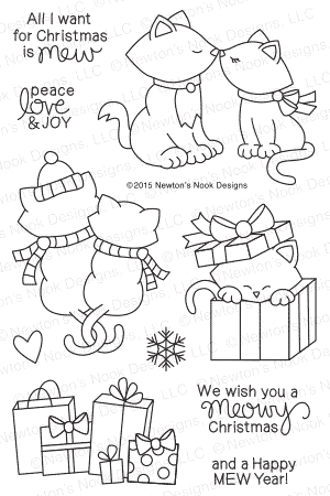 Newton's Nook Designs NEWTON'S CHRISTMAS CUDDLES Clear Stamp Set 20151001 zoom image
