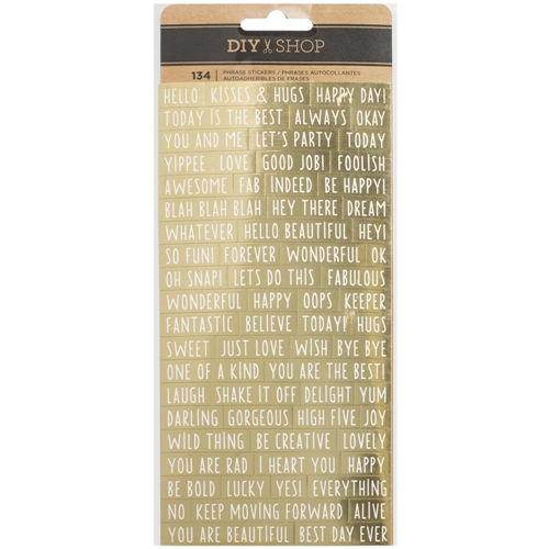 American Crafts GOLD FOIL PHRASE Stickers DIY Shop 3 370867 Preview Image