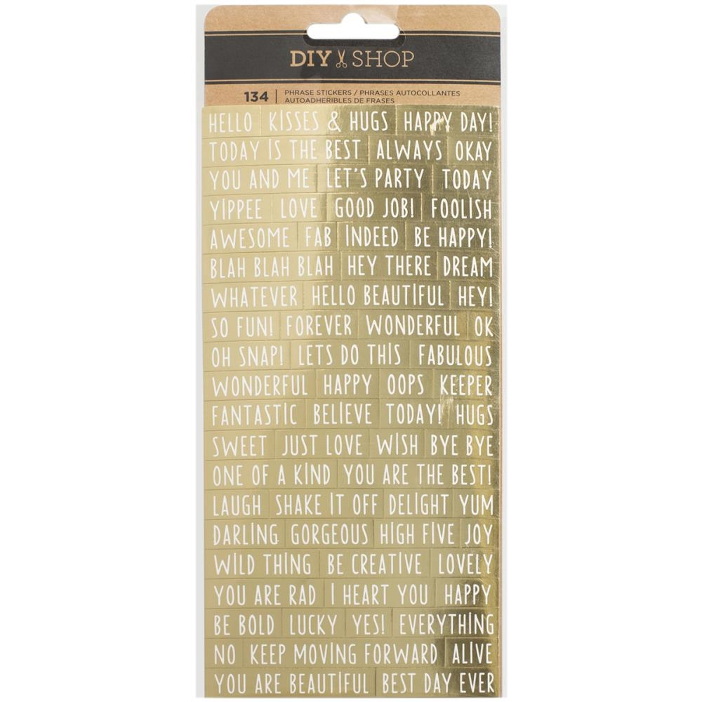 American Crafts GOLD FOIL PHRASE Stickers DIY Shop 3 370867 zoom image