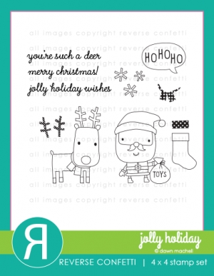 Reverse Confetti JOLLY HOLIDAY Clear Stamp Set  zoom image