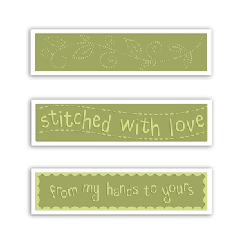 Sizzix Textured Impressions STITCHED WITH LOVE SET Embossing Folders 660771