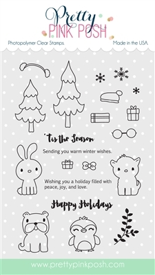Pretty Pink Posh HOLIDAY PALS Clear Stamp Set PPPS001 zoom image