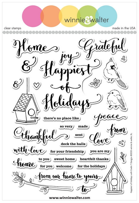 Winnie and Walter HAPPIEST OF HOLIDAYS EVELIN T DESIGNS Clear Stamps WW049 zoom image