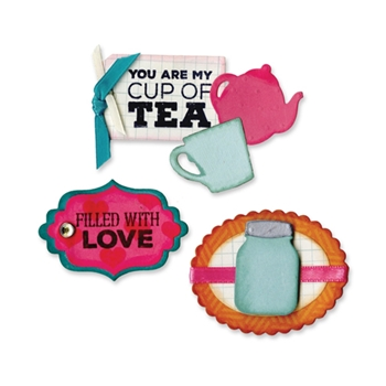 Sizzix Framelits JAR AND TEAPOT SENTIMENTS Combo Die and Stamp Set 660777