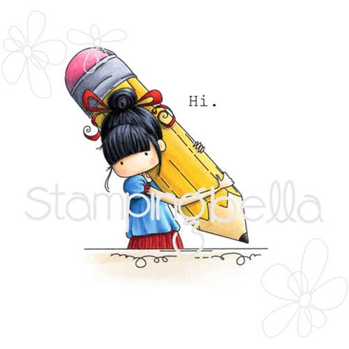 Stamping Bella Cling Stamp TINY TOWNIE PENELOPE HAS A PENCIL Rubber UM eb349* Preview Image