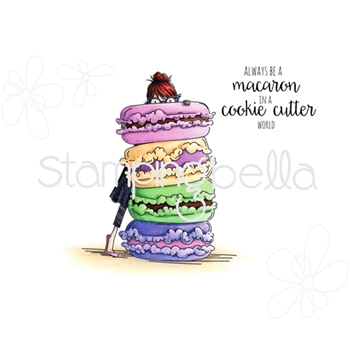 Stamping Bella Cling Stamp UPTOWN GIRL MONIQUE LOVES MACARONS Rubber UM EB350