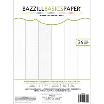 Bazzill BASICS WHITE Cardstock Pad 8.5 x 11 Inches 309321