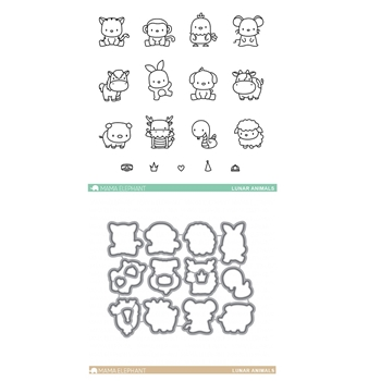 Mama Elephant Clear Stamp and Die Lunar Animals SET