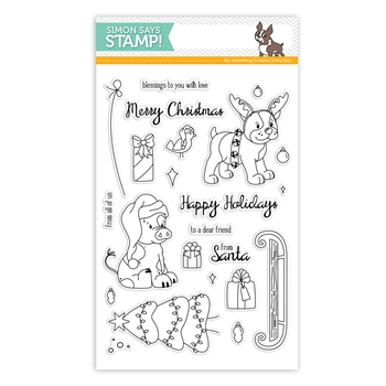 Simon Says Clear Stamps SIMON AND DEXTER CHRISTMAS sss101589 From All Of Us *