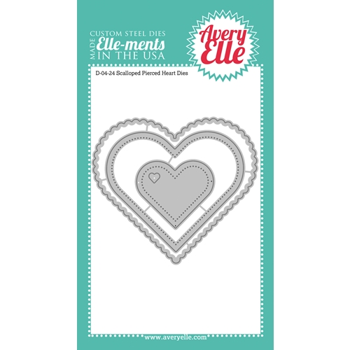 Avery Elle Steel Dies SCALLOPED AND PIERCED HEARTS DIE Set 023574 Preview Image
