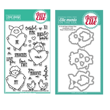 Avery Elle Clear Stamp and Die SETHKAE Hogs and Kisses SET
