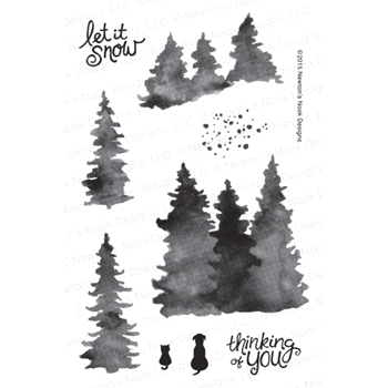 Newton's Nook Designs WHISPERING PINES Clear Stamp Set 20151201
