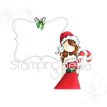 Stamping Bella Cling Stamp UPTOWN GIRL CHRYSTALS CHRISTMAS LABEL Rubber UM EB332
