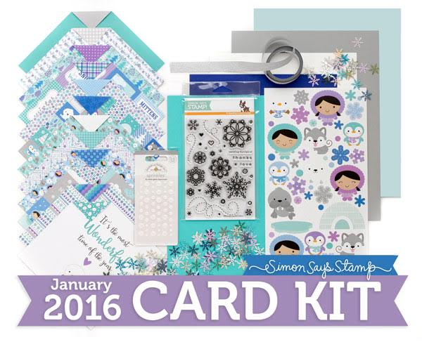 Simon Says Stamp Card Kit of the Month January 2016 FLURRIES OF LOVE CKJAN16 zoom image